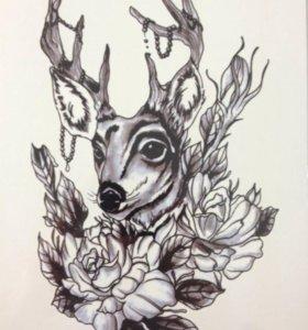 Временное тату олень