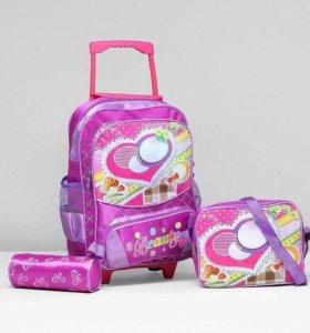 Рюкзак школьный на колесах +сумка+пенал