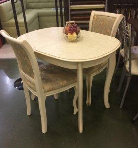 Стол обеденный с 2 мя стульями Кабриоль