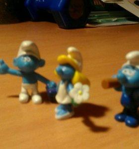 Смурфики, три фигурки