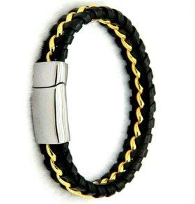 Кожаный браслет со сталью мужской