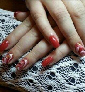Наращивание ногтей гелем гельлак маникюр