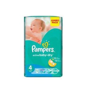 Pampers active baby-dry 4 (8-14 кг), 70 шт