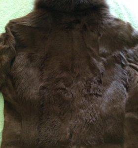 Куртка меховая козлик + замша , воротник песец44