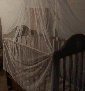 Кроватка детская маятник+балдахин