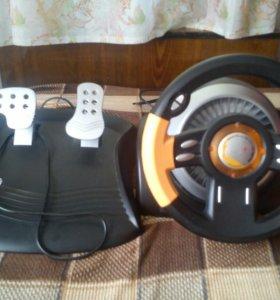 Игровой руль с педалями.ТОРГ