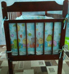 Детская кроватка матрас и бортики