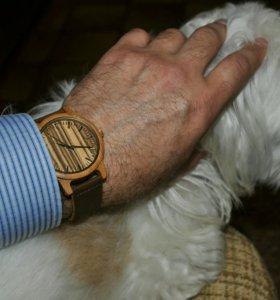 наручные часы из дерева - бамбук, кожа (unisex)