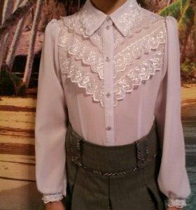 Блузка праздничная белая 140-146