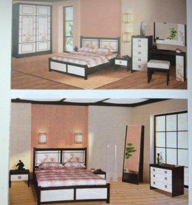Кровать,матрац и прикроватные тумбы