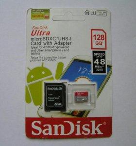 Карта памяти SanDisk micro sdxc 128 Gb