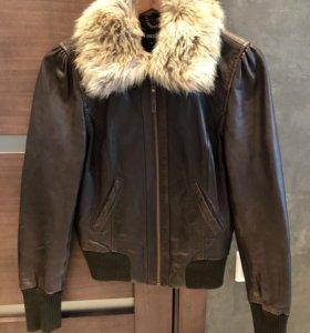 Куртка-бомбер из натуральной кожи
