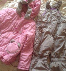 Зимний комплект,Куртка и полукомбинезон на девочку
