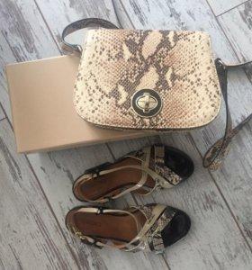 Кожаные сандалии и сумочка на ремне. Комплект.