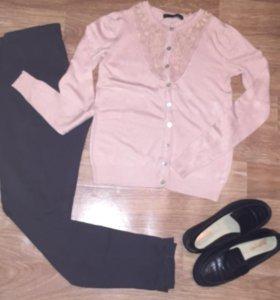 Кардиган, брюки, лоферы