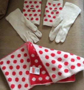 Комплект перчатки и шарф
