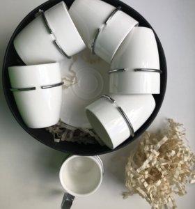 Кофейный фарфоровый набор чашек с блюдцем
