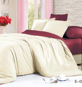 Постельное белье Сатин - белый красный цвет Евро