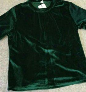 Топ блузка футболка бархатная женская, бархат