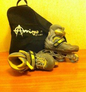 Роликовые коньки - раздвижные с защитой и с сумкой