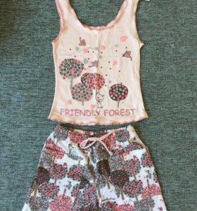Комплект новый блузка и шорты на девочку 6-7лет