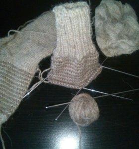 Носки шерстяные, ручная вязка