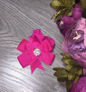 Бант на резинке (Повязка на голову) ярко-розовая