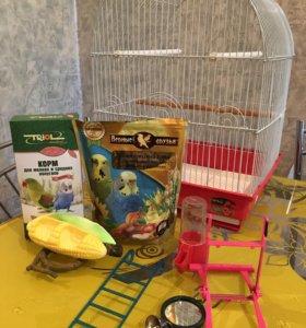 Клетка для попугаев с сопутствующими товарами