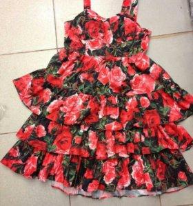 Новое платье оборки цветы розы рюши тюльпаны женск