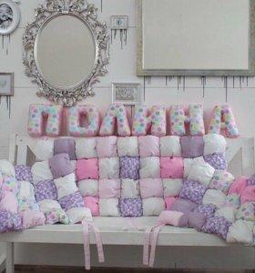 Бом-бон одеяло, Бом-бон бортики и подушки буквы