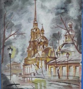 """Картина акварелью """" Осенний Петербург """"."""