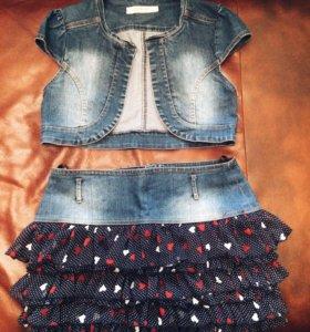 Мини-юбка с жилеткой
