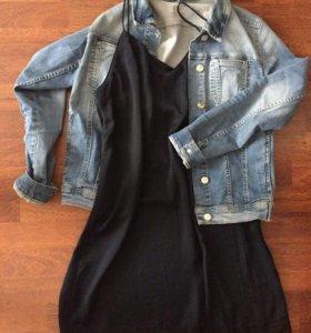 Джинсовый пиджак Платье с кружевом
