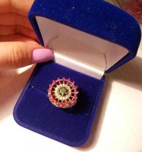 Кольцо с натуральными камнями (индийское серебро )