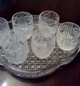Набор ладья и 6 мини бокалов хрусталь