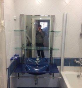 Раковина стеклянная и зеркальный гарнитур