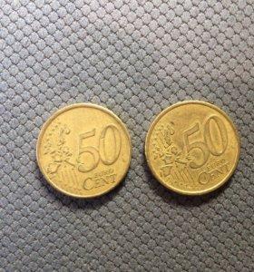 50 евроцентов 2002 и 1999 год