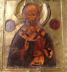Икона старинная церковная Никола 43х35см