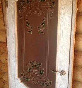 Дверь шпон с витражом