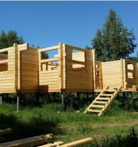 Строим дома и бани из бревна и бруса
