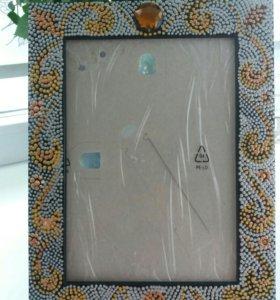 Рамка под фото ручной работы (точечная роспись)