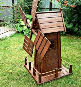 деревянные мельницы, избушки