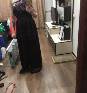 Вечернее платье со стразами, темно-фиолетового цв