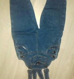 Детский джинсовые утепленный комбинезон
