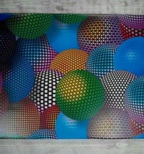 Баннер; 3D; картина; шары; абстракця