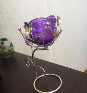 Подсвечник/вазочка из цветного стекла