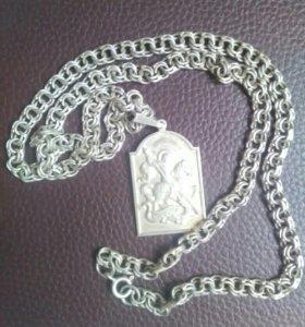 Серебряная цепочка бисмарк с подвеской