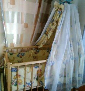 Кроватка с матрасом ортопедическим и балдахин