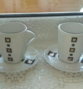 Кофейные чашки и блюдца 2 шт.