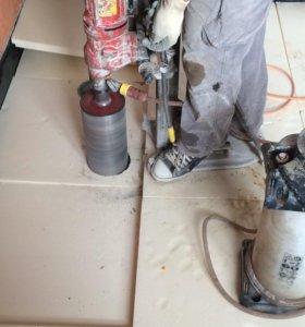 Алмазное сверление отверстий в бетоне, бурение ФБС